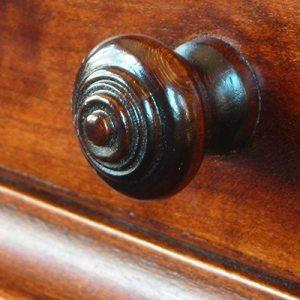 Hand Turned Wood Knob in Dark Maple