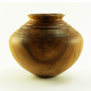 Hollow form vase in apple wood