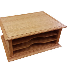 Monitor Stand with File Sorter in Oak.