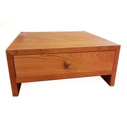Contemporary Wooden Monitor Stand in Natural Cherry