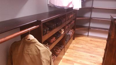 Rustic Pine Shelving in Master Closet