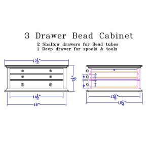 Dimensions for 3 Drawer Bead Cabinet