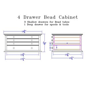 Dimensions for 4 Drawer Bead Cabinet