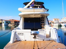 SOPHIA's aftdeck is able to store a dinghy up to 10 feet long