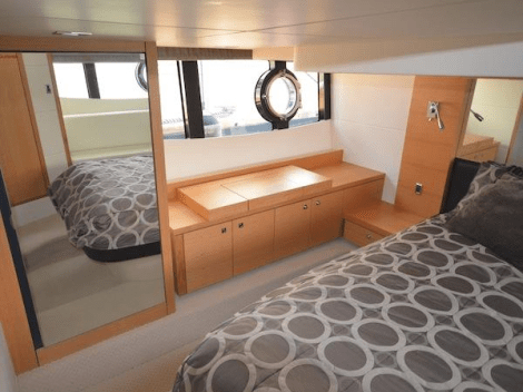 2 spacious Cabins, a comfortable Saloon and well equipped Galley accommodate 4 guests with ease