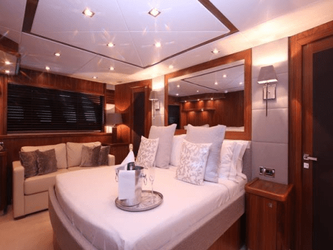 "The Sunseeker 90 Yacht ""DEVOTION"" features a full-beam aft Master Cabin"
