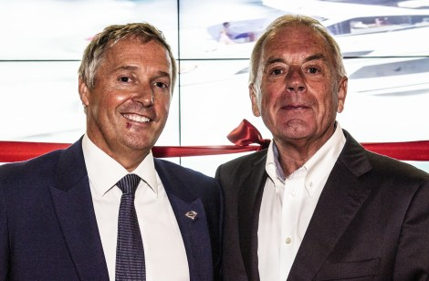 Sunseeker London Group Sales Director Christopher Head (L) pictured with Sunseeker founder Robert Braithwaite CBE (R)