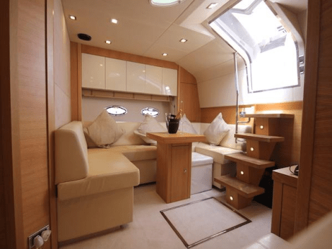 "The interior of the Sunseeker Portofino 48 ""GOLDENEYE"" features some stunning additions by the current Owner"