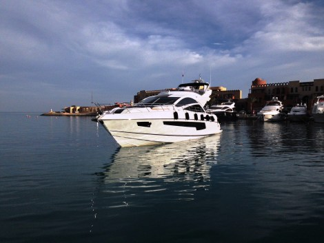 """Berthed in Abu Tig Marina, the 68 Sport Yacht """"FAFY"""" is creating some serious attention with her striking Sunseeker looks"""