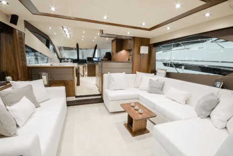 The White Company provided a selection of interior accessories for the Sunseeker Manhattan 65