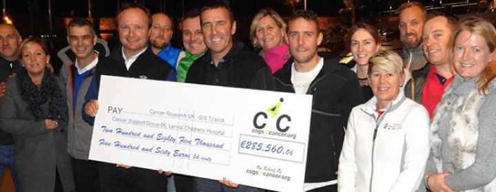 Cogs4Cancer charity cycling team presents €285,000 donation to Cancer Research UK