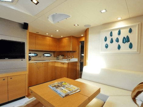 """The light interior of the Sunseeker Portofino 48 """"SILVER LINING"""" is complimented by contemporary designs"""