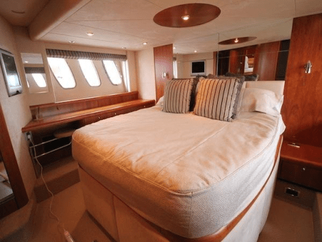 """The Predator 62 """"OPTIONS"""" offers luxurious accommodation for 6 guests in 3 cabins"""