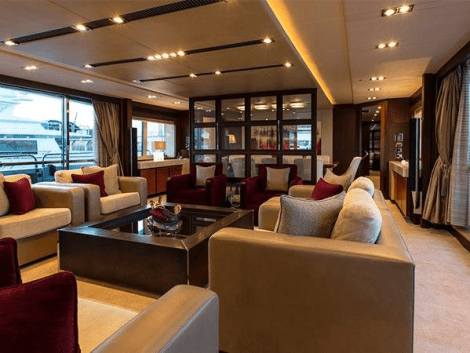 "World renowned superyacht designer Ken Frievokh was appointed to design the interior of ""NEVER SAY NEVER"""