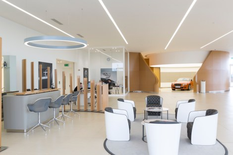 The Bentley Motors showroom in Crewe, UK