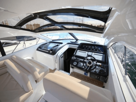 The Predator 54 has an open style, with spacious cockpit seating and a sliding roof