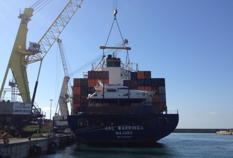 """The Princess 23M """"ISABEL"""" is loaded in Genoa, bound for Australia"""