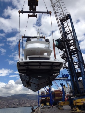 The Manhattan 65 is unloaded from the ship for handover in Turkey