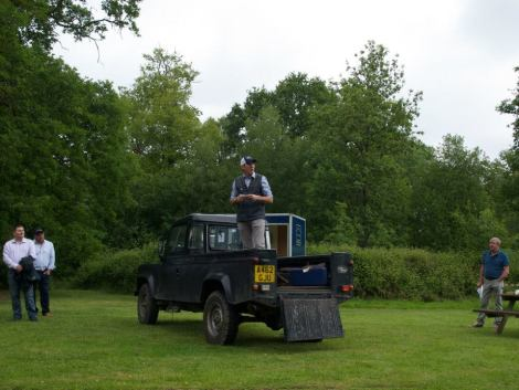 David Holley, CEO of Peters & May, gives a welcome speech at the Charity Shoot