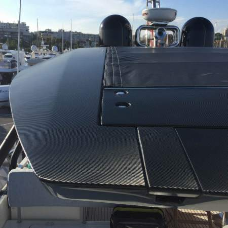 Eye-catching metallic sky-blue hull complimented with fresh carbon-look detailing - installed prior to handover as part of one of the many services offered through Sunseeker Southampton's team of trusted associate partners