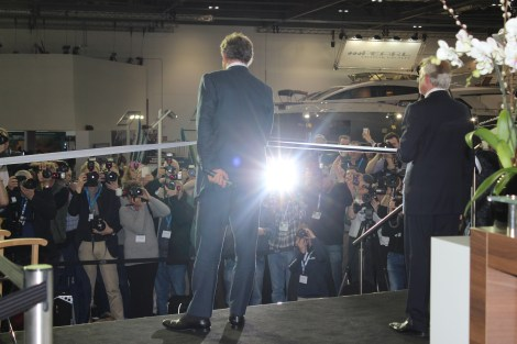 Hugh Bonneville cuts the ribbon on the Sunseeker stand at the London International Boat Show