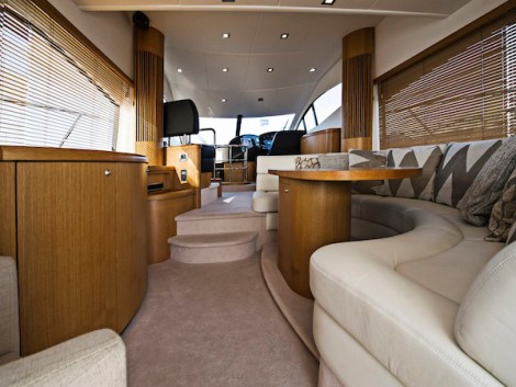 """""""SUGAR"""" is a great example of the Manhattan 52 flybridge yacht. Featuring many characteristics of the larger boats, with a spacious main saloon deck, fully equipped galley and very impressive accommodation facilities."""