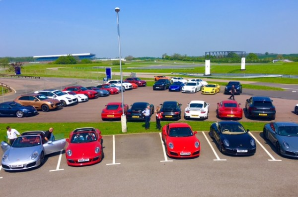 The array of Boxsters, Caymans and 911's waiting for their excited drivers