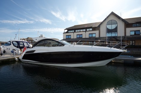 The sleek Portofino 40 must be viewed in person to see how stunning she really is Swanwick Marina