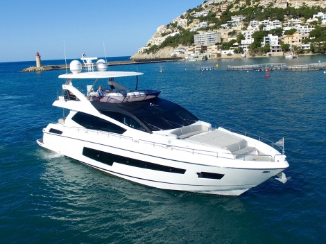 Powered by the larger twin MAN 1550hp shaft drive diesel engines she has the performance to match her sleek lines.