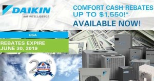 Daikin Comfort Cash Rebate Info - Sunset Air and Home Services - Fort Myers FL - 239-693-9005 - 600 x 315