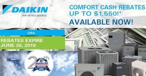 Daikin Comfort Cash Rebate 2019