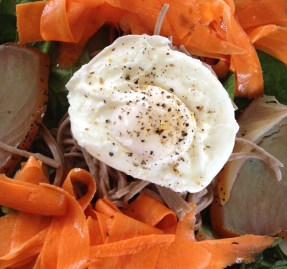 Smoked tuna, poached egg, carrot tagliatelle and spinach