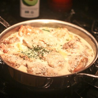 Poulet a la Creme - Warning this dish will become something that can make your reputation as a cook. The recipe is variable to your taste and yearned for after a cold day on the slopes.