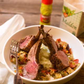 Grilled Garlic Lamb Rack with Ragout of Vegetables - A hearty and delicious restaurant quality lamb rack you can make at home.