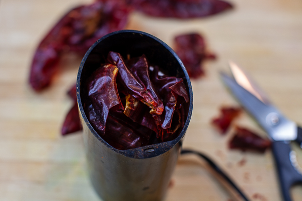 cut up chiles in spice grinder