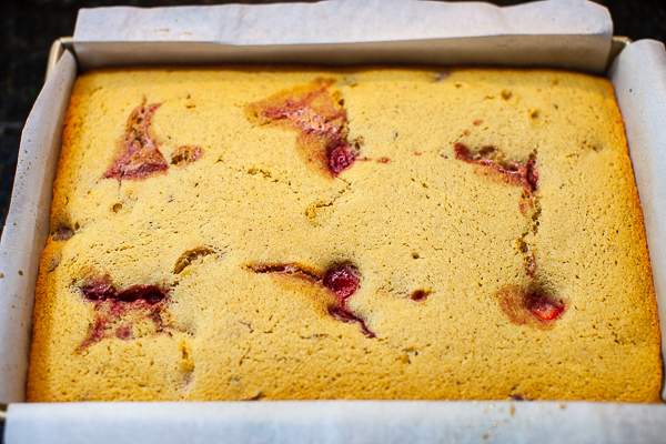 financier cake baked golden brown