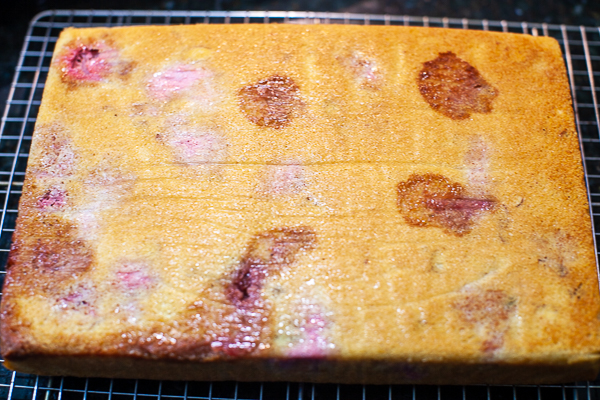 cake on cooling rack with parchment paper removed