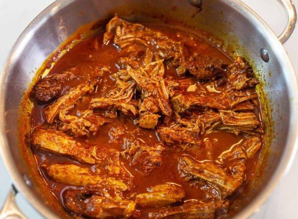 Shredded pork in conchinita pibil sauce