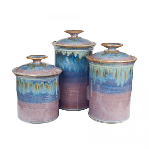 kitchen pottery canisters bookcase sunset canyon canister set aurora