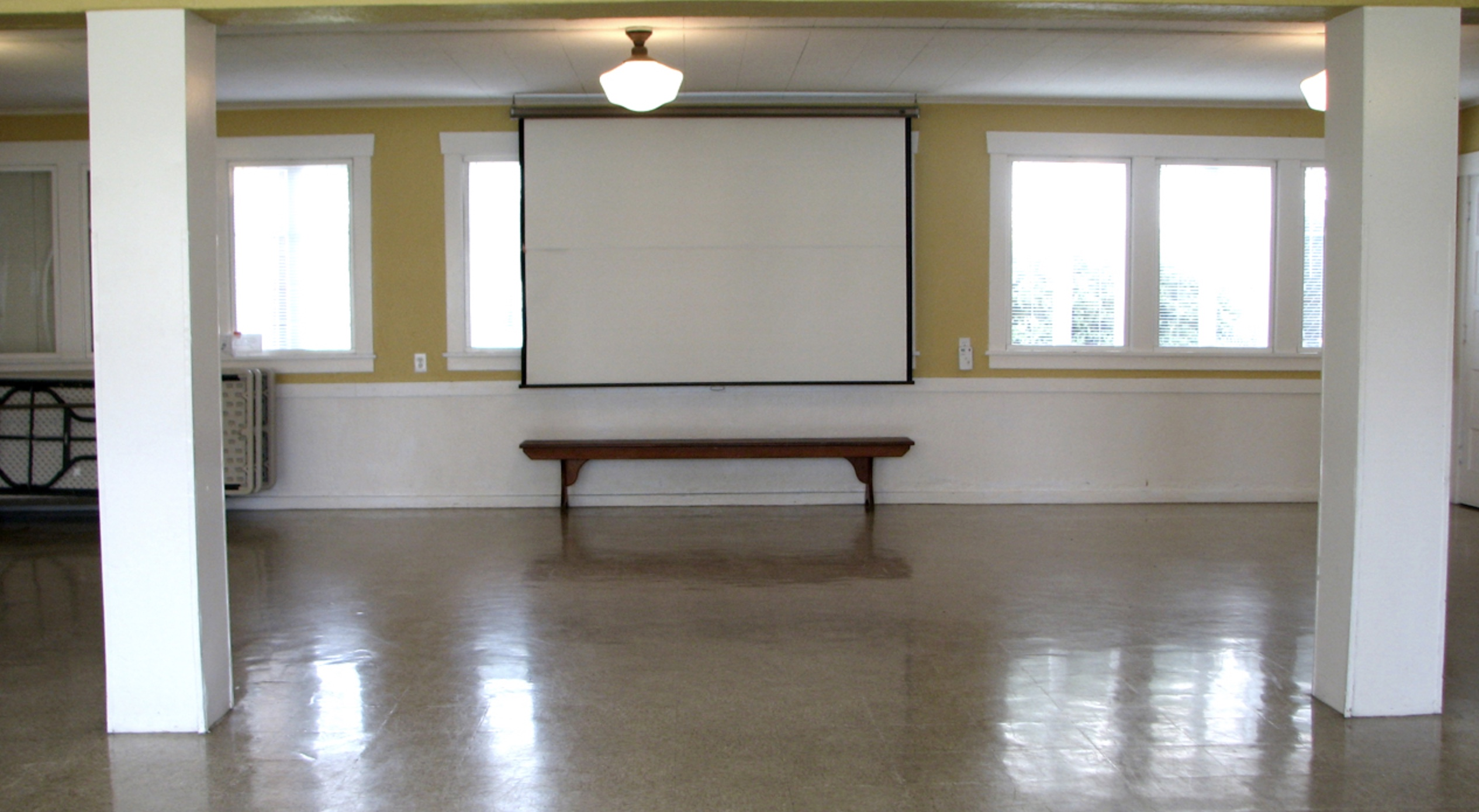 Projection screen in Lower Hall