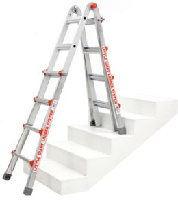 little giant ladder over a staircase