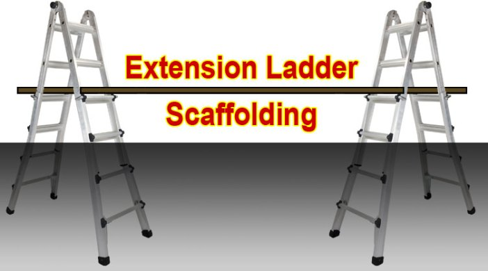 how to make quick and easy scaffolding from two extension ladders