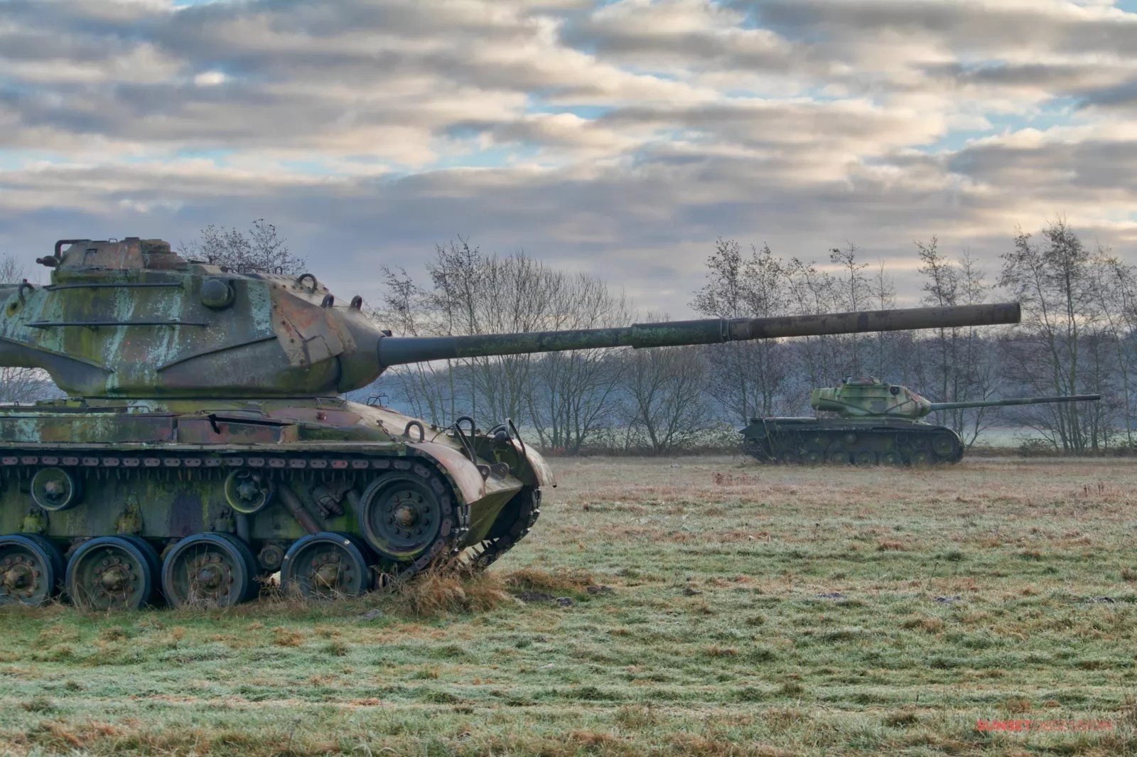 The abandoned tanks are quite well-preserved