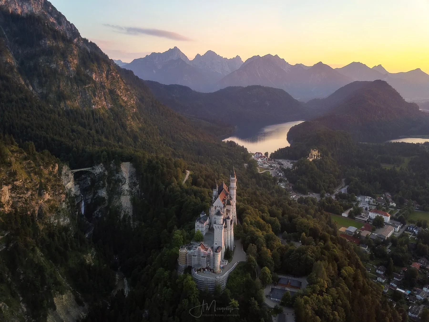 Castle Neuschwanstein and surrounding landscape