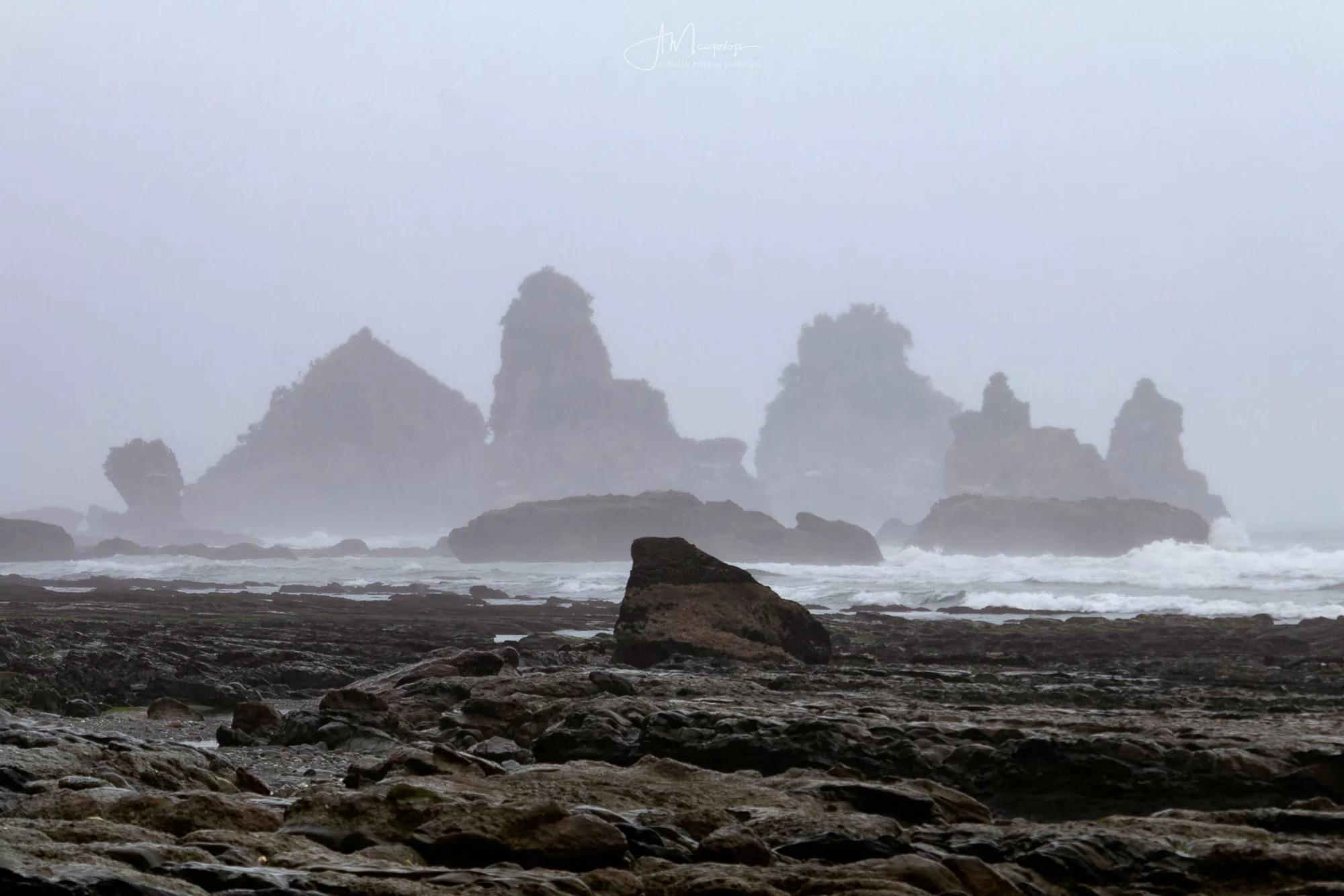 Cliffs of Motukiekie Beach in the distance
