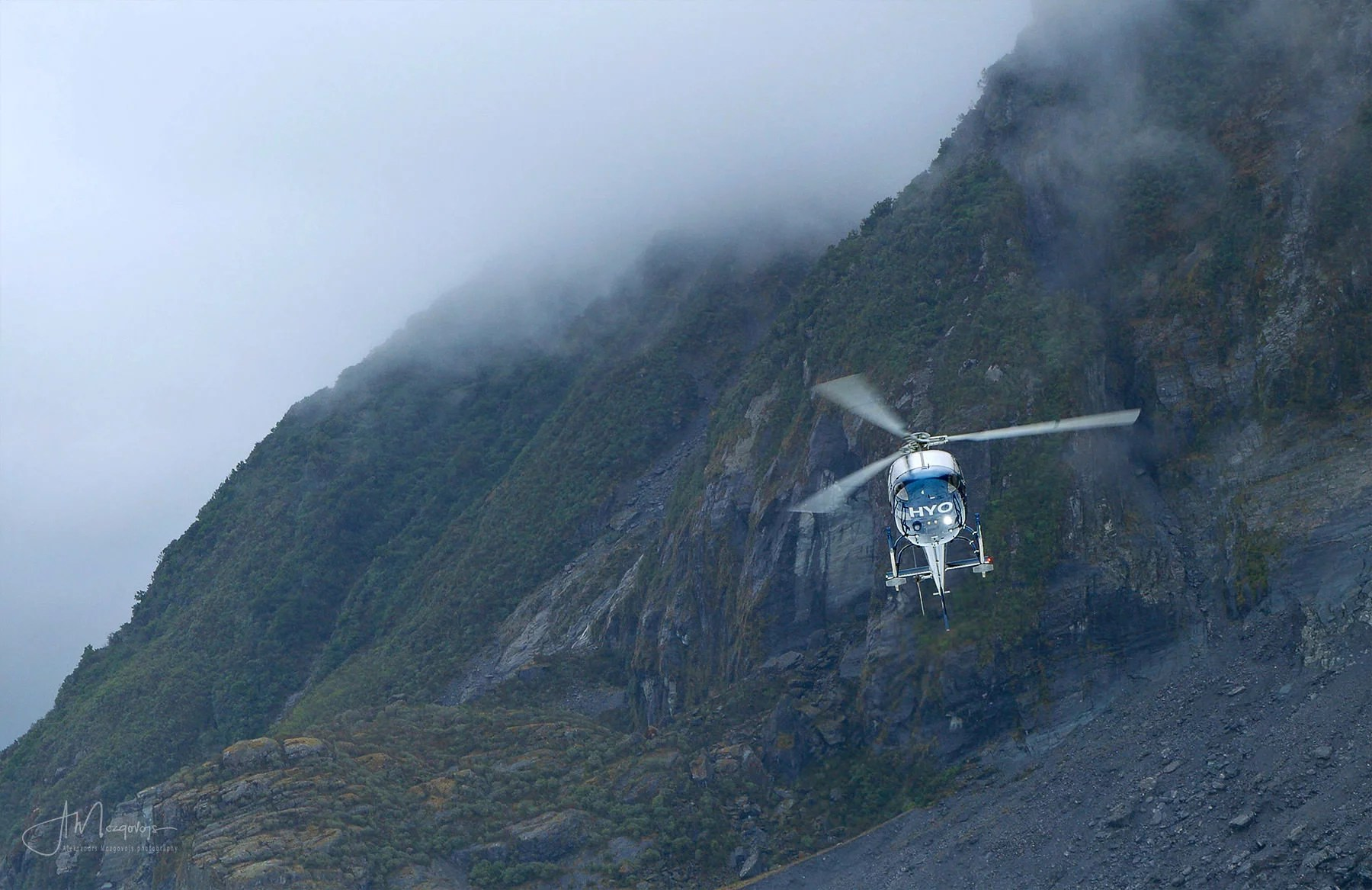 Helicopter Approaching Fox Glacier, New Zealand