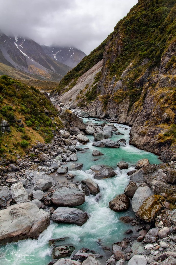 The view of the Hooker River from one of the swing bridges