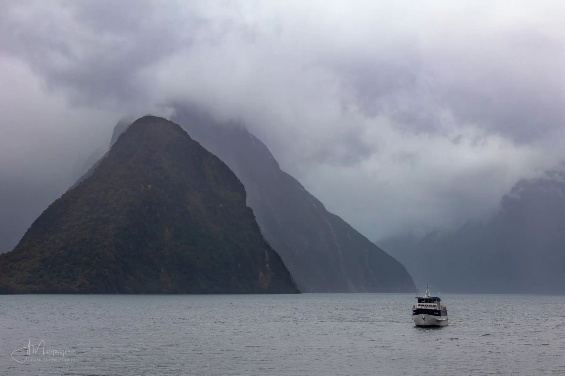 Clouds over Milford Sound, New Zealand