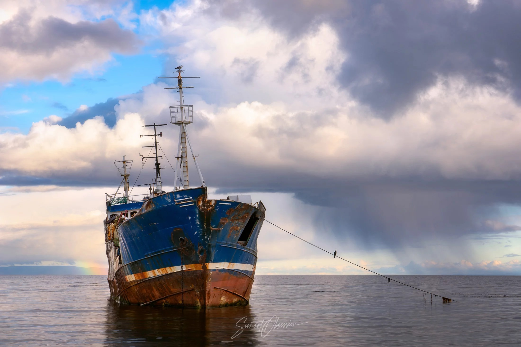 Abandoned ship in the Strait of Magellan, Chilean Patagonia