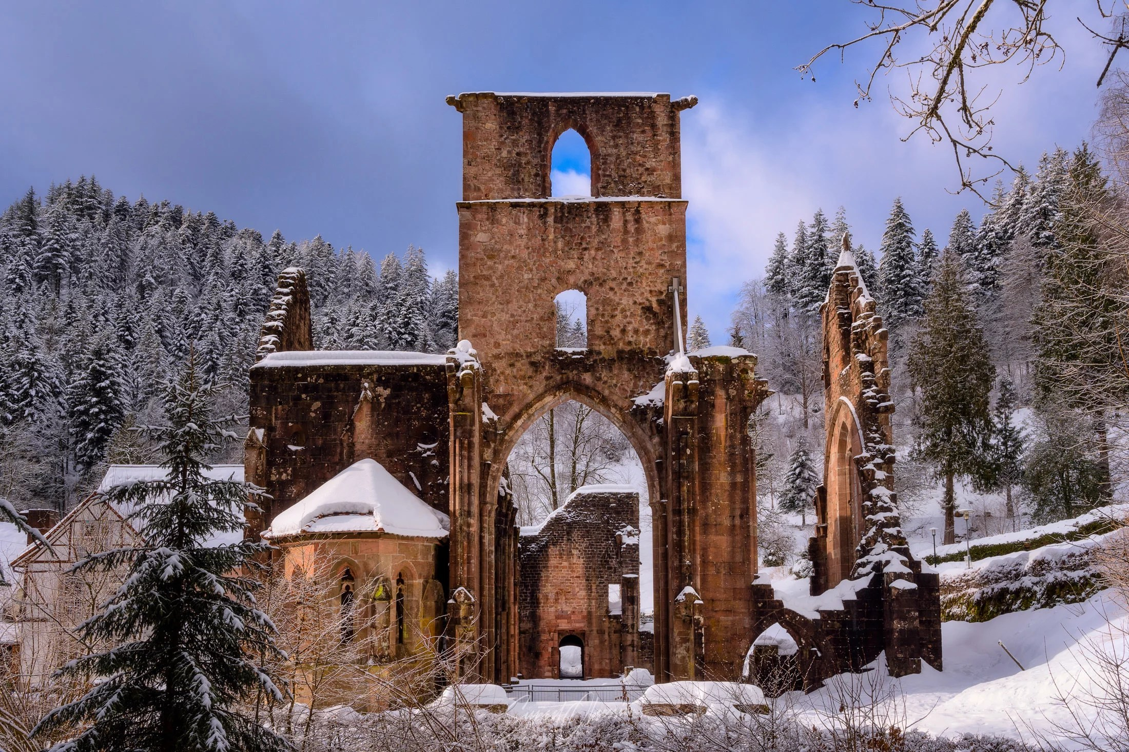 All Saints Abbey in winter, Black Forest, Germany
